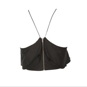 Zara Tops - Zara Flirty Halter Black Ruffle Flounce Crop Top